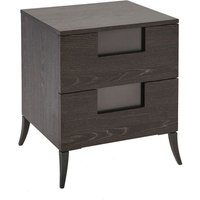 Gillmore Fitzroy Two Drawer Charcoal Oak Veneer Bedside Table / Large