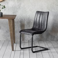 Gallery Direct Set of 2 Edington Faux Leather Grey Dining Chairs