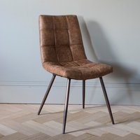 Gallery Direct Set of 2 Darwin Brown Leather Dining Chairs