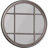 Gallery Direct Eccleston Window Pane Round Mirror Silver