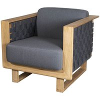 Cane-line Angle With Teak Frame Dark Grey Lounge Outdoor Chair