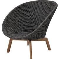 Cane-line Peacock With Teak Legs Dark Grey Lounge Outdoor Chair