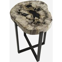 Andrew Martin Petrified Wood and Metal Lamp Table