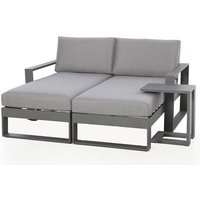 Maze Rattan Amalfi Outdoor Lounger With Side Table in Grey