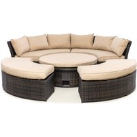 Maze Rattan Chelsea Lifestyle Outdoor Suite with Glass Table in Brown