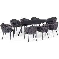 Maze Rattan Marina 8 Seat Outdoor Furniture Set in Charcoal