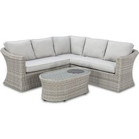 Maze Rattan Oxford Small Corner Sofa with Firepit Table in Grey