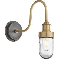 Industville Swan Neck Outdoor & Bathroom Wall Light - Brass