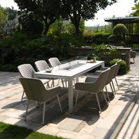 Maze Rattan Zest 8 Seat Rectangular Dining Set with Fire Pit Table in Lead Chine