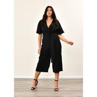 Plus Size Black Utility Culotte Jumpsuit