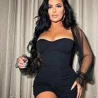 Black Sheer Sleeve Bustier Detail Bodycon Mini Dress