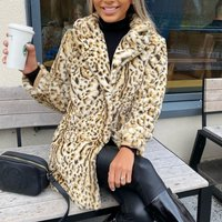 Leopard Mid Length Faux Fur Coat