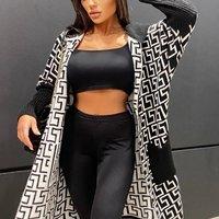 Black White Geometric Hooded Cardigan