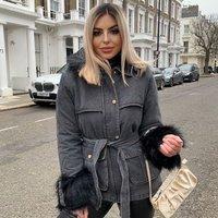 Charcoal Black Faux Fur Trim Belted Denim Jacket