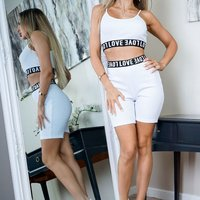 White Love Print Elasticated Hem Rib Crop Strap Top and Cycling Shorts Co Ord Set