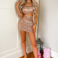 Nude Sequin Strapless Crop Top and Mini Skirt Co-Ord