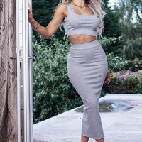 Grey Rib Crop Vest Top and Matching Maxi Skirt Lounge Suit