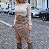Mocha Faux Leather Thigh Split Midi Skirt