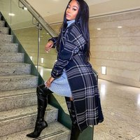 Black Checked Collared Belted Trench Coat