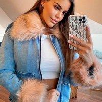 Blue Pink Faux Fur Trim Denim Jacket