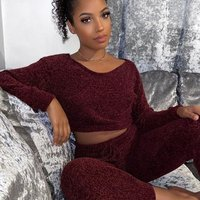 Wine Chenille Long Sleeve Crop Top and Legging Knitted Lounge Set