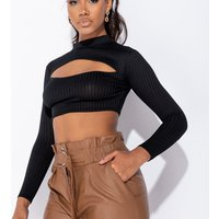 Black Cut Out Front Rib Knit Long Sleeve Crop Top