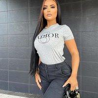 Grey Jand#39;Adior Slogan Fitted T-Shirt