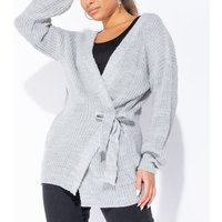 Grey Mid Length Tie Belt Detail Cardigan