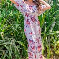 Off White Floral Frill Detail Cold Shoulder Maxi Dress