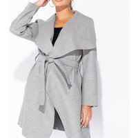Grey Mid Length Oversized Belted Waterfall Coat