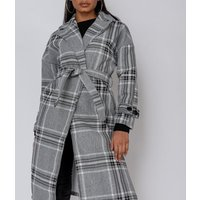 Grey Checked Collared Belted Trench Coat