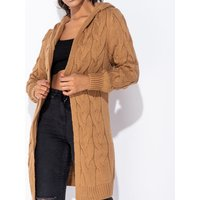 Camel Chunky Cable Knit Hooded Edge To Edge Midi Cardigan