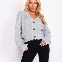 Grey Drop Sleeve Oversized Cropped Cardigan