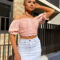 Rose Pink Ruched Button Front Puff Sleeve Crop Top