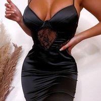 Black Lace Panel Bustier Satin Dress