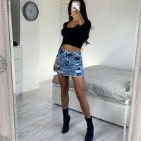 Mid Blue Acid Wash Distressed Frayed Hem Denim Mini Skirt