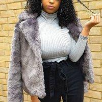 Grey Rib Knit Polo Neck Long Sleeve Top
