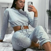 Grey Drawsting Detail Cropped Hoodie and Jogging Trousers Set
