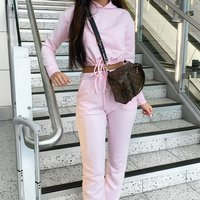 Pink Drawsting Detail Cropped Hoodie and Jogging Trousers Set