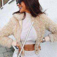 Camel Teddy Bear Fur Bomber Jacket