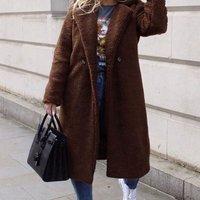 Brown Longline Borg Teddy Coat
