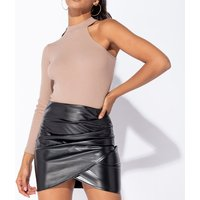 Black PU Wet Look Wrap Front Pleat Detail Mini Skirt