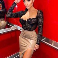 Mocha Faux Leather Split Front Skirt