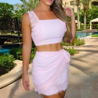 Pink Lace Ruffle Trim Crop Top and Wrapover Skirt