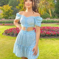 Blue Ditsy Floral Ruched Front Crop Top and Frill Hem Skirt