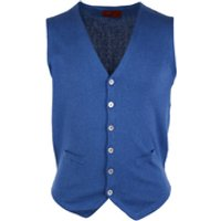 Deze casual gilet blauw met een pasvorm slim fit is gemaakt van katoen in de kleur blauw met een uni dessin ...