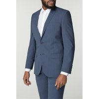 Blue Textured Wool Blend Tailored Fit Suit Jacket 40S Blue