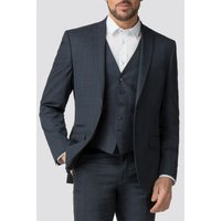 The Collection Deep Blue Check Tailored Fit Jacket 48R Navy