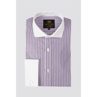 Image of Scott Taylor Purple Stripe Cutaway Collar Regular Fit Shirt 15 Purple