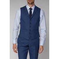Racing Green Blue Texture Tailored fit Waistcoat 46R Bright Blue